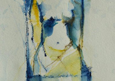 NUDE WITH CHAIR, Derwent art bar on paper