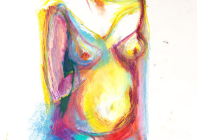 SHE, oil pastel and pencil on paper