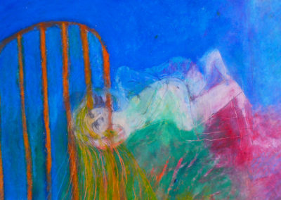 BURNING BED, oil pastel on paper