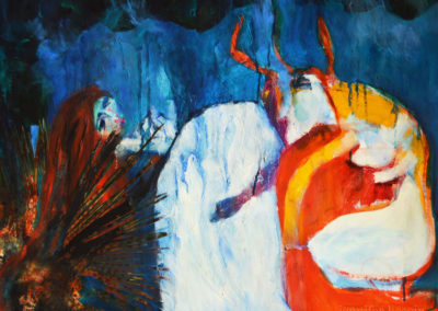 PERSEPHONE AND THE KING, oil and collage on canvas