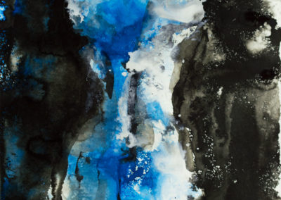BLACK AND BLUE, India ink on paper