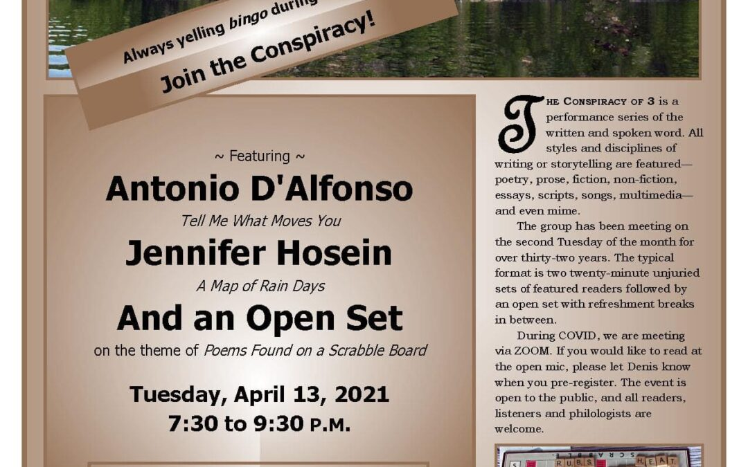 Conspiracy of 3 Reading Series, April 13, 2021